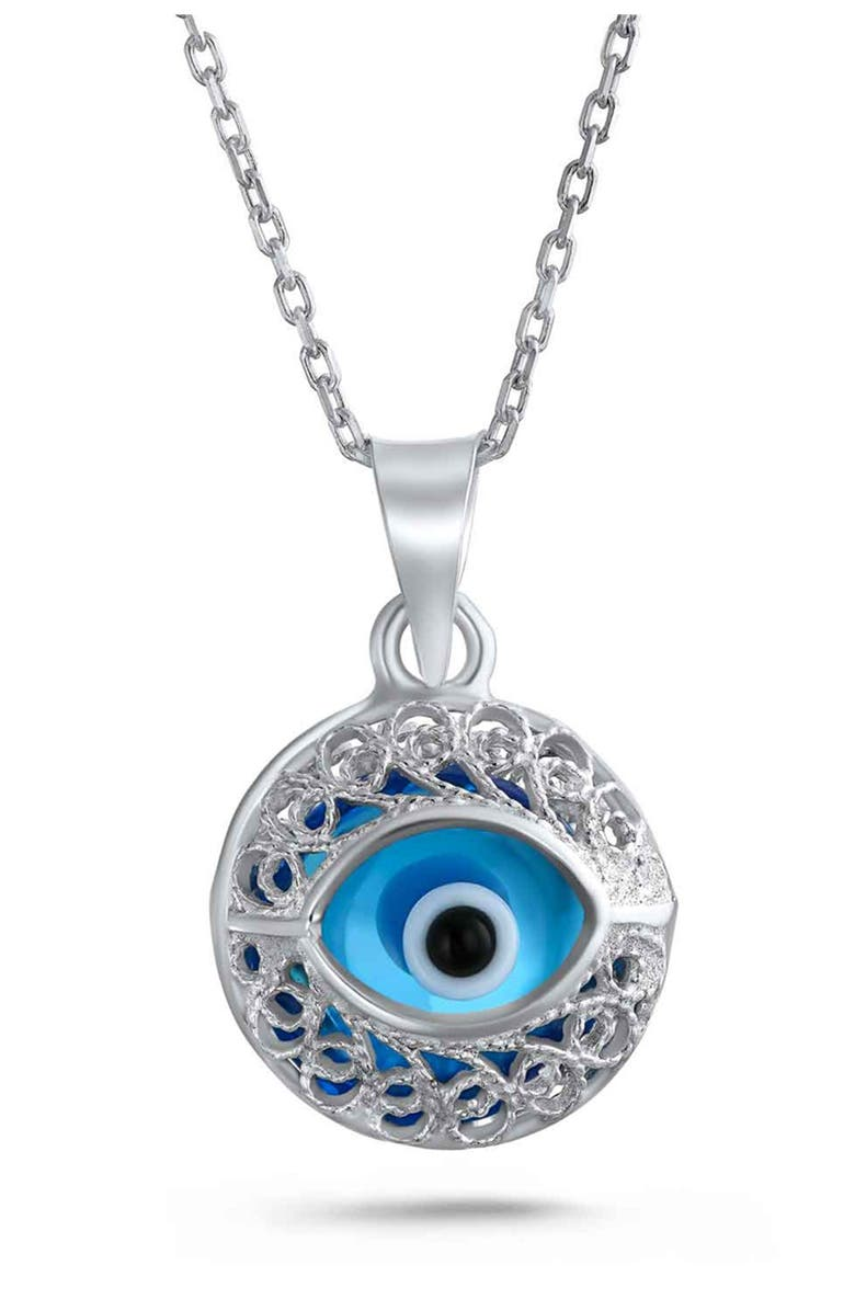 BLING JEWELRY Sterling Silver Turkish Protection Evil Eye Pendant Necklace, Main, color, SILVER
