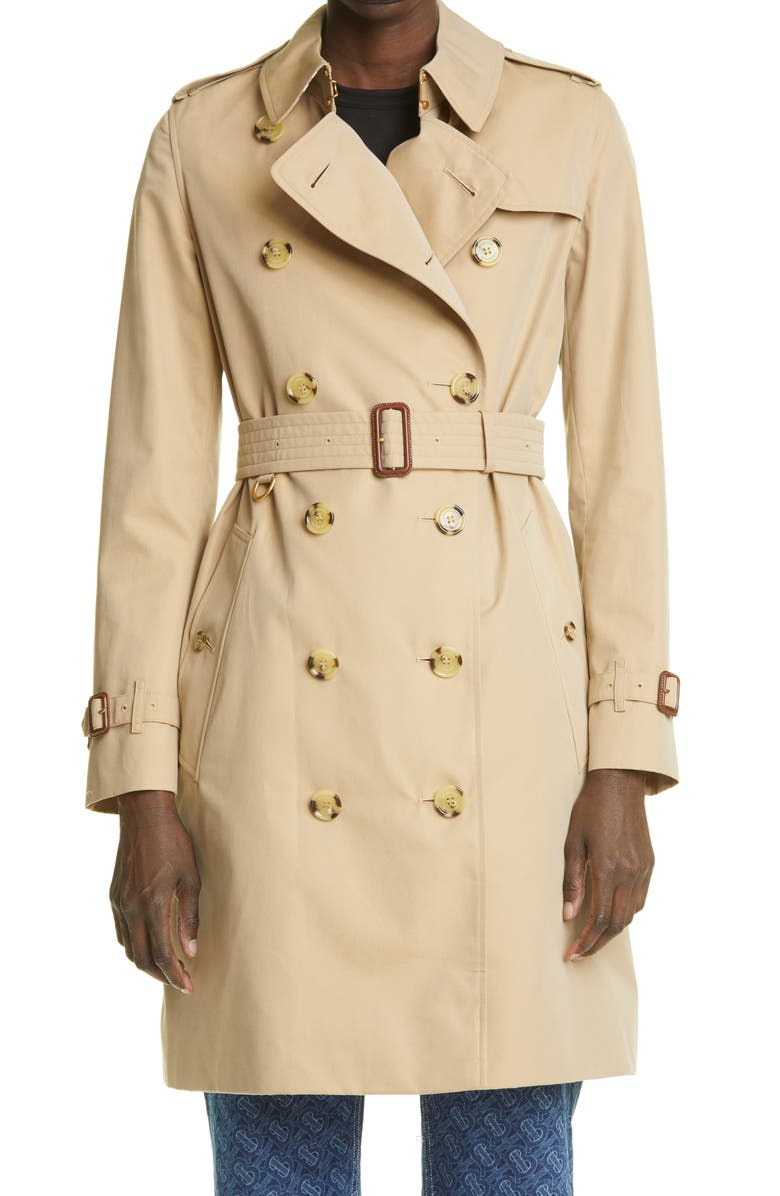 BURBERRY The Kensington Mid Heritage Trench Coat, Main, color, HONEY