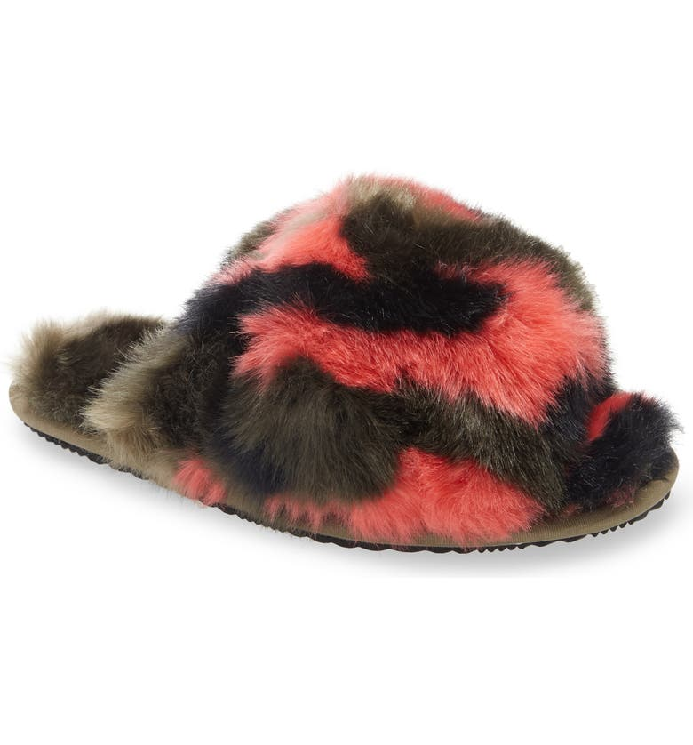 SOREL Go Mail Run Faux Fur Slide Slipper, Main, color, SAGE
