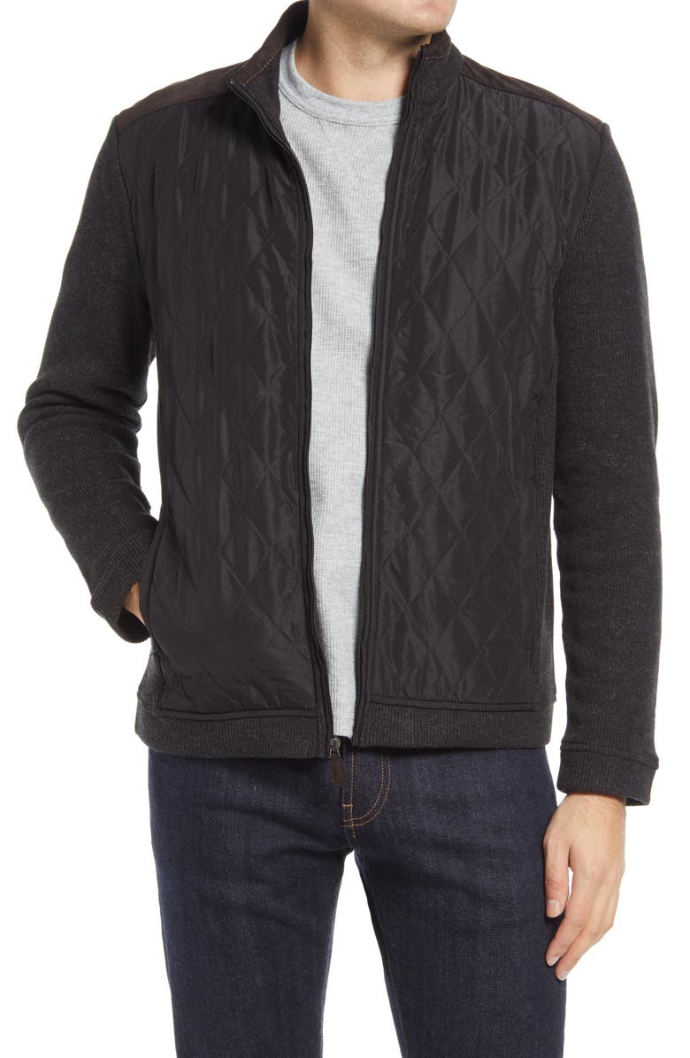 JOHNSTON & MURPHY Quilted Panel Zip Cardigan Sweater, Main, color, BLACK