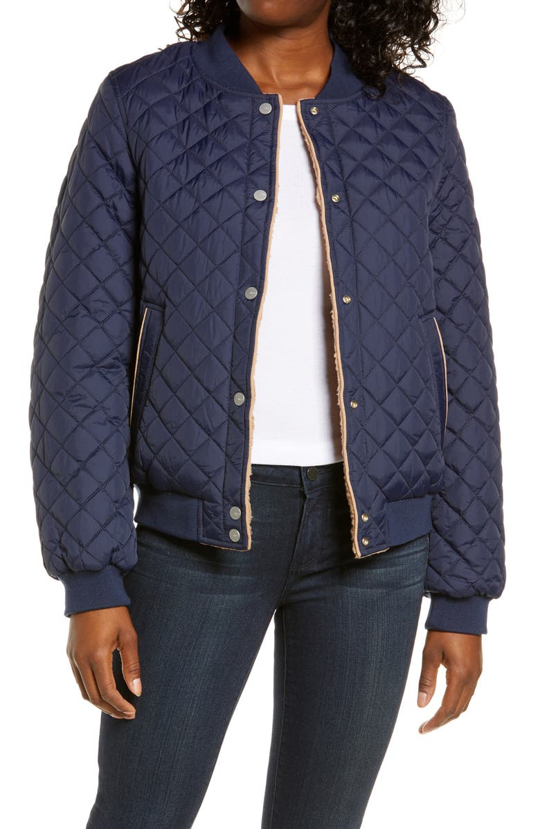 UGG<SUP>®</SUP> Reversible Quilted & Faux Shearling Bomber Jacket, Main, color, NAVY / CAMEL