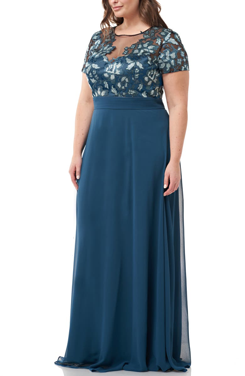 JS COLLECTIONS Embroidered Bodice Evening Dress, Main, color, 300
