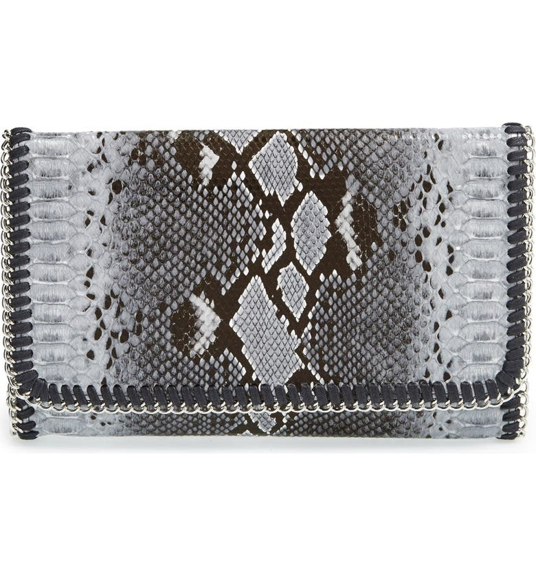 PHASE 3 Snake Embossed Faux Leather Foldover Clutch, Main, color, 020
