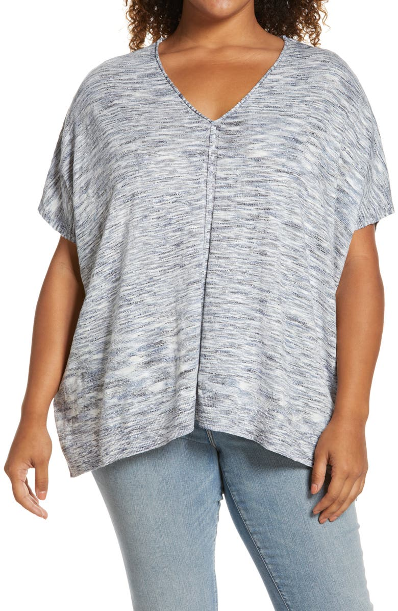 CASLON<SUP>®</SUP> Space Dye Popover Short Sleeve Sweater, Main, color, IVORY- BLUE COMBO