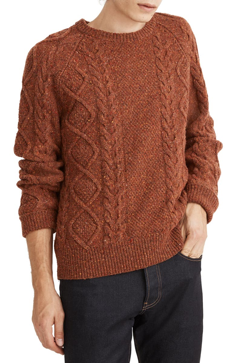 MADEWELL Donegal Cable Knit Fisherman Sweater, Main, color, WARM SEPIA DONEGAL