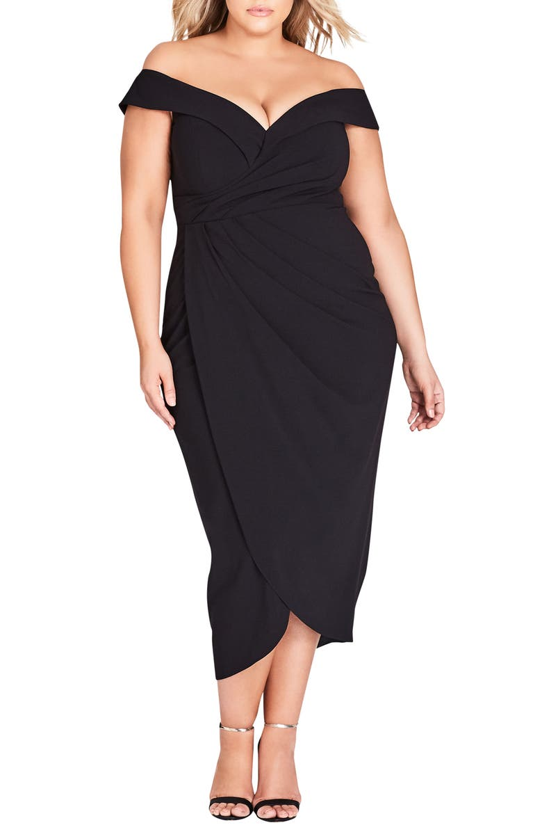 CITY CHIC Rippled Love Off the Shoulder Sheath Dress, Main, color, 012