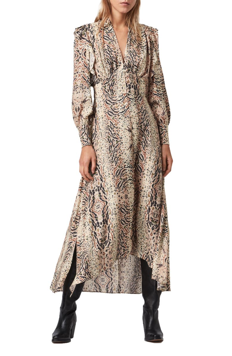 ALLSAINTS Lia Arietta Mixed Print Long Sleeve Cotton Blend Shirtdress, Main, color, ECRU WHITE