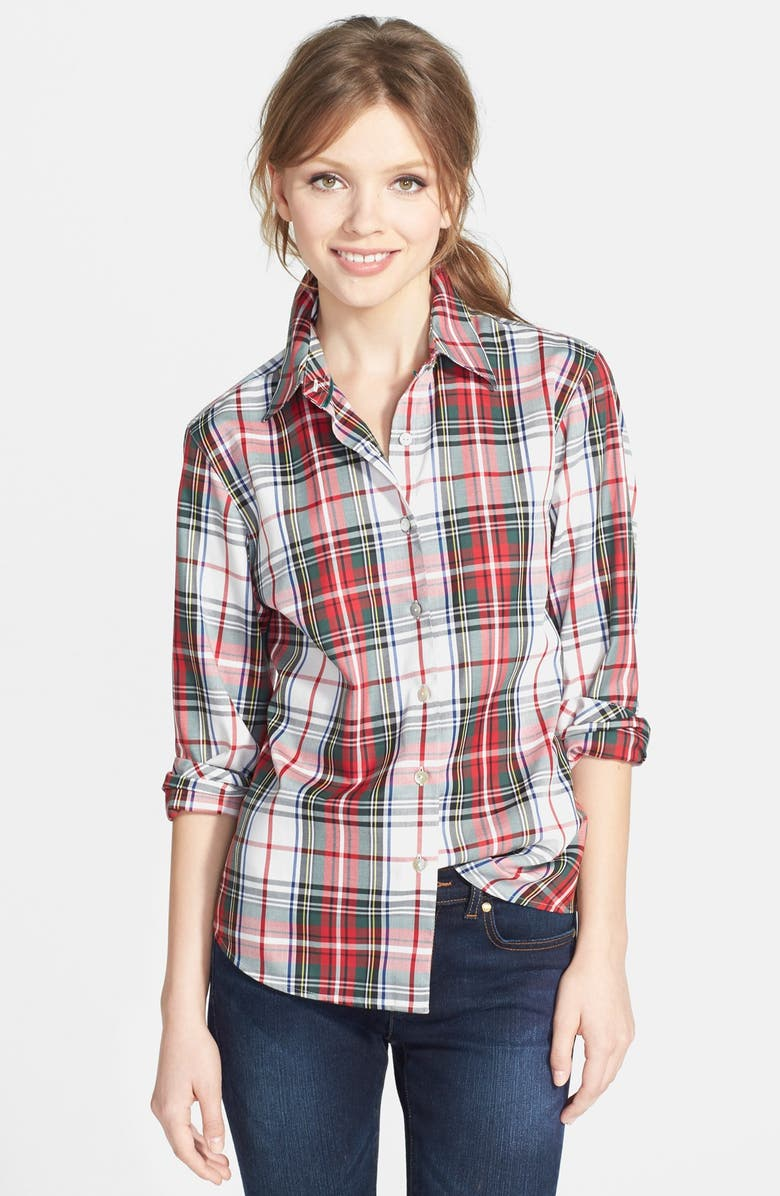 FOXCROFT 'Kilt Tartan' Shaped Shirt, Main, color, 100