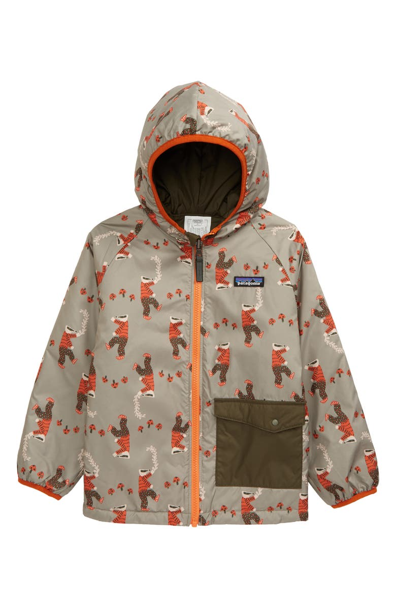 PATAGONIA Puff Ball Water Resistant Thermolite<sup>®</sup> Insulated Reversible Jacket, Main, color, MUSHROOM JIVE GARDEN GREEN