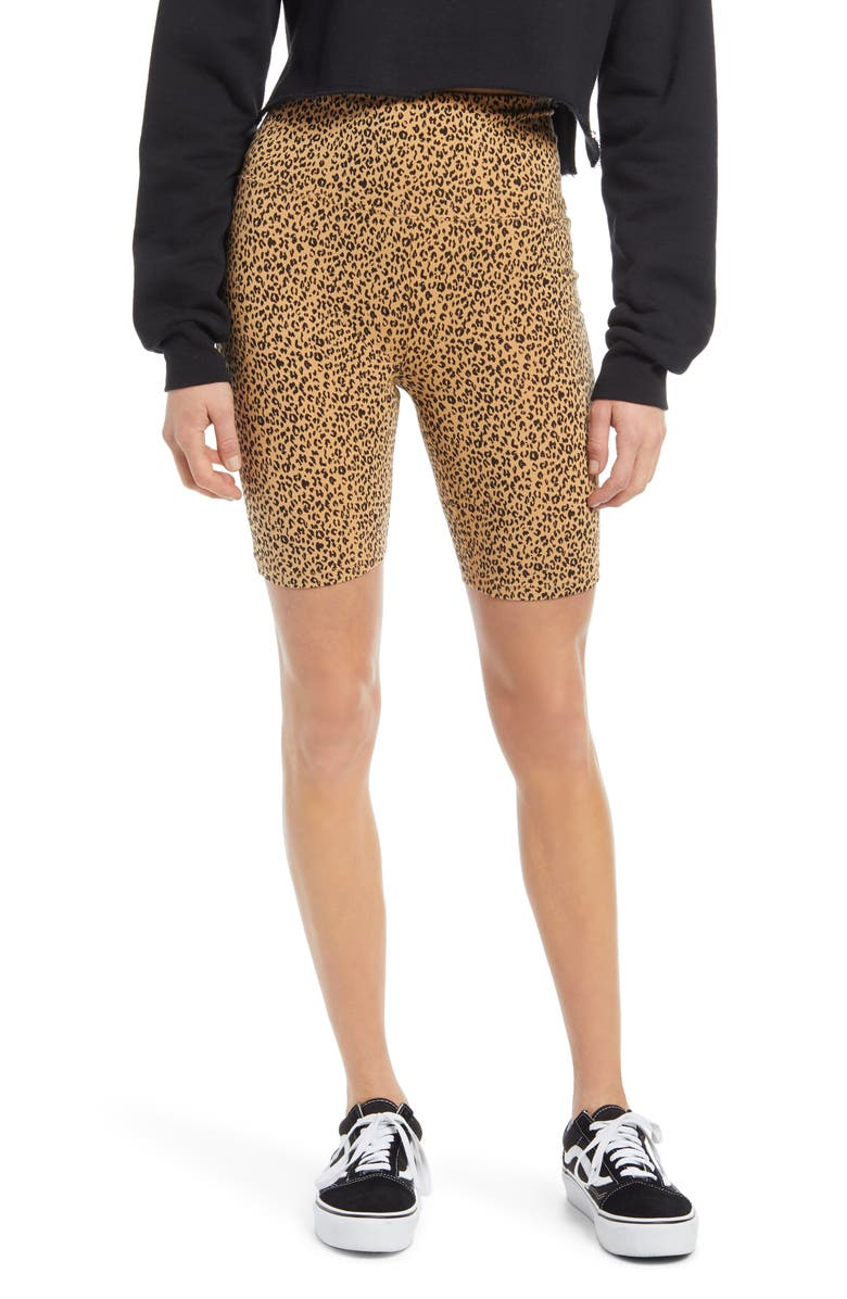 BP. High Waist Bike Shorts, Main, color, TAN SKETCHED ANIMAL