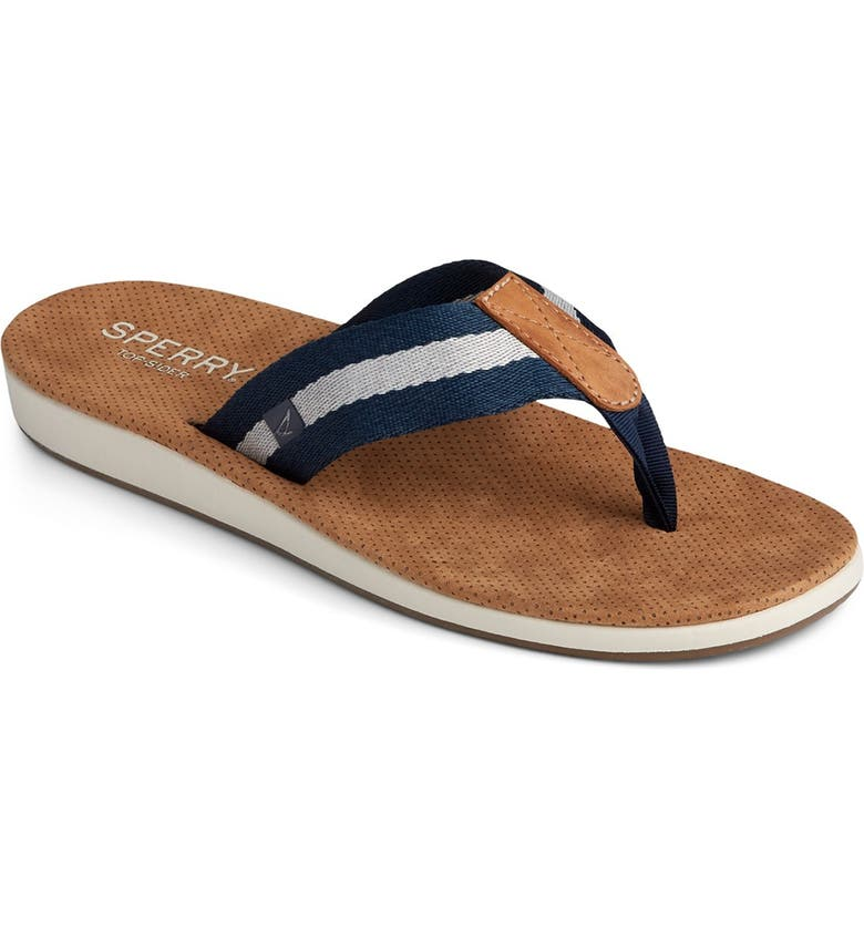 SPERRY Bayside Thong Stripe Sandal, Main, color, NAVY