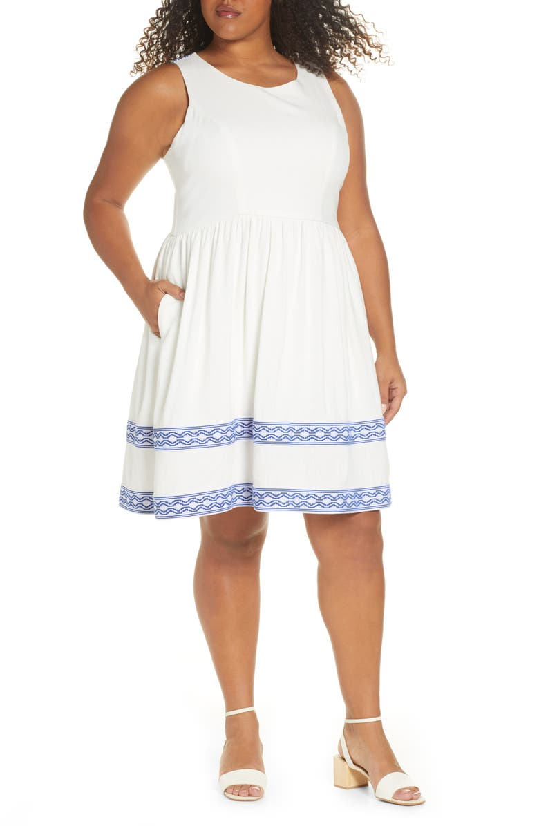 GIBSONLOOK Gibson x Hi Sugarplum! Ravello Geo Trim Sleeveless Fit & Flare, Main, color, 100