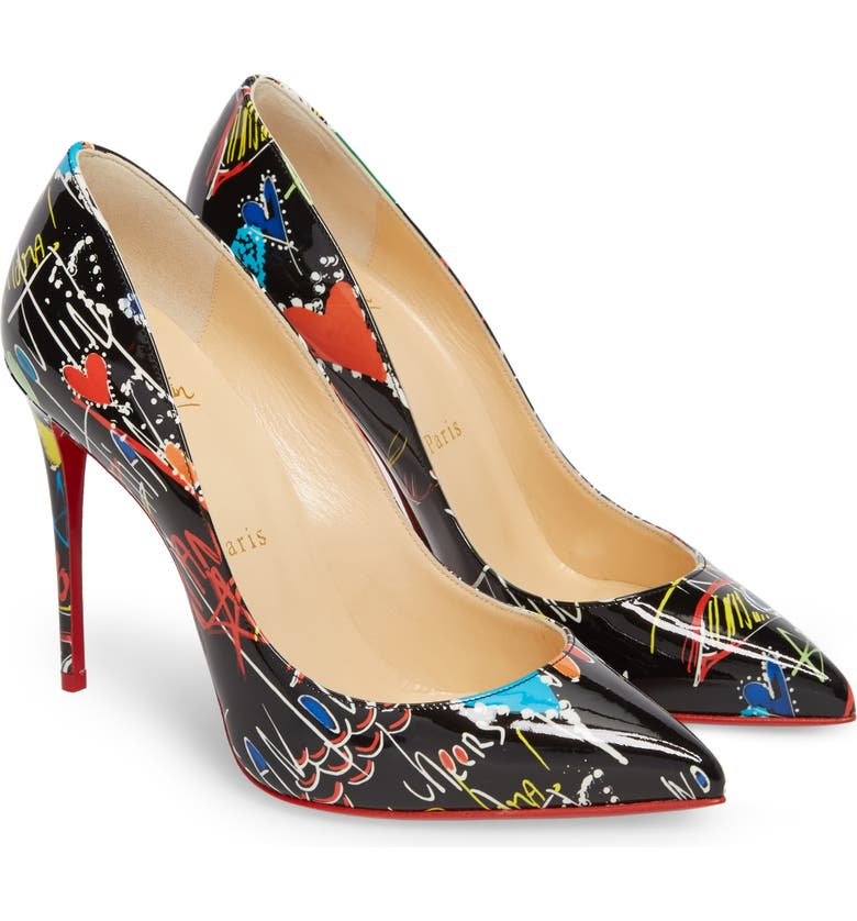 CHRISTIAN LOUBOUTIN Pigalle Loubitag Pointy Toe Pump, Main, color, 001