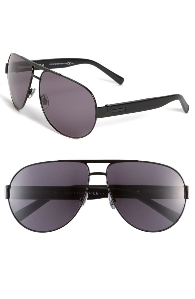 GUCCI Stainless Steel Aviator Sunglasses, Main, color, 001
