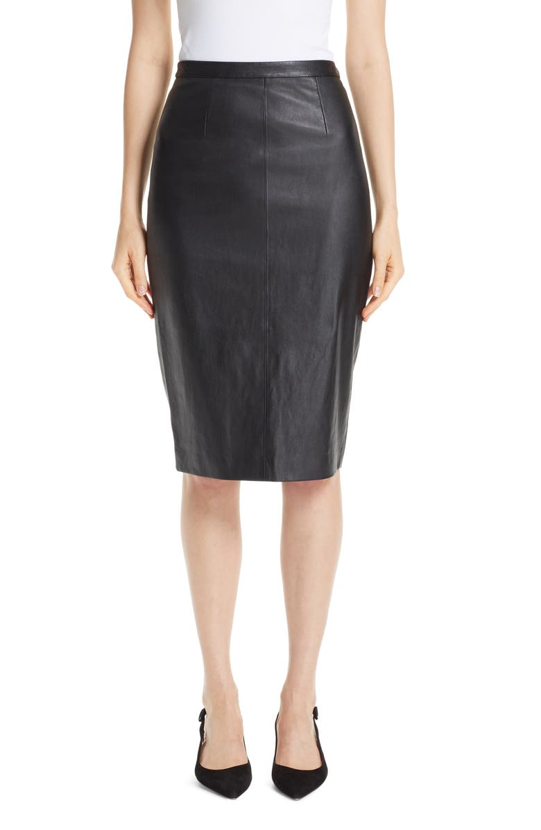 ST. JOHN COLLECTION Stretch Nappa Leather Pencil Skirt, Main, color, 001