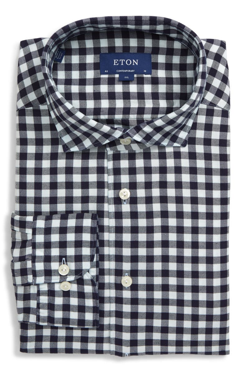ETON Soft Collection Contemporary Fit Check Dress Shirt, Main, color, 400