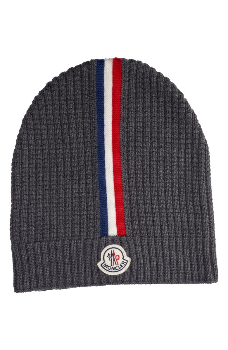 MONCLER Stripe Wool Beanie, Main, color, CHARCOAL GREY