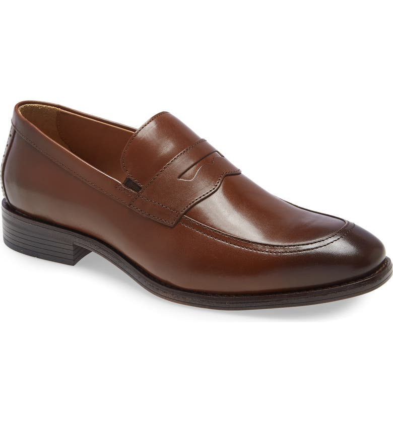 JOHNSTON & MURPHY Lewis Penny Loafer, Main, color, TAN FULL GRAIN