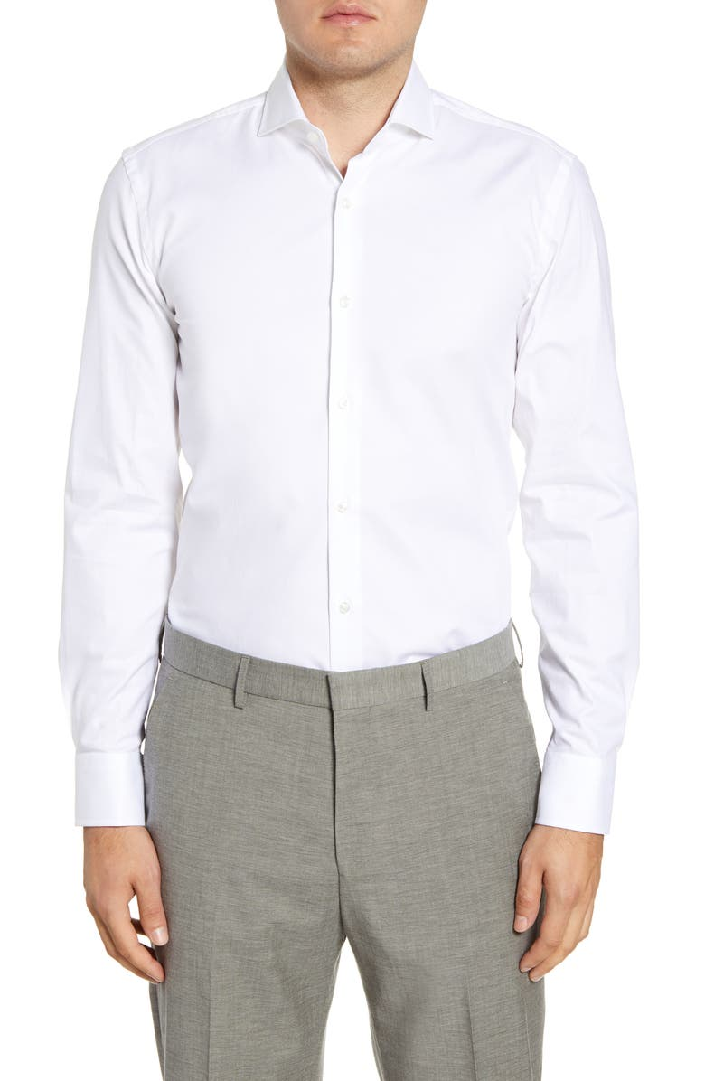 BOSS Slim Fit Solid Stretch Cotton Dress Shirt, Main, color, WHITE