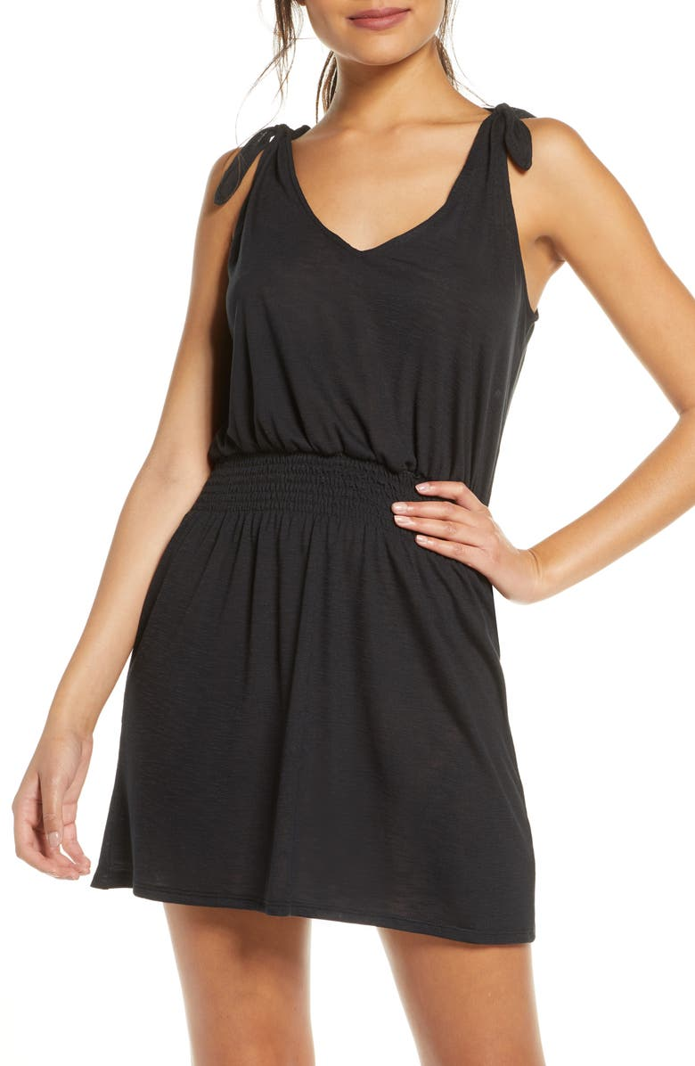 BECCA Breezy Basics Cover-Up Dress, Main, color, BLACK