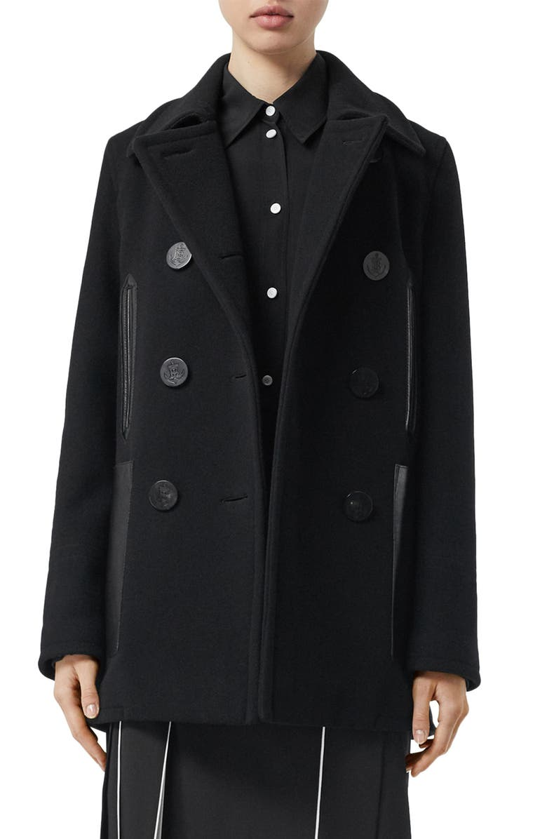 BURBERRY Leather Pocket Peacoat, Main, color, 001