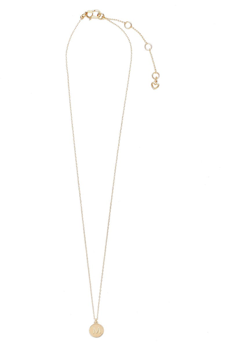 KATE SPADE NEW YORK mini initial pendant necklace, Main, color, GOLD - M