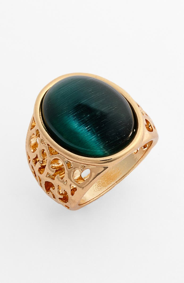 BP. Round Stone Ring, Main, color, GOLD/ DARK GREEN