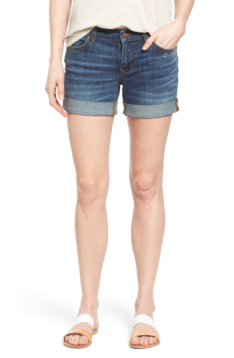 CASLON<SUP>®</SUP> Rolled Denim Boyfriend Shorts, Main, color, MEDIUM DESTRUCT
