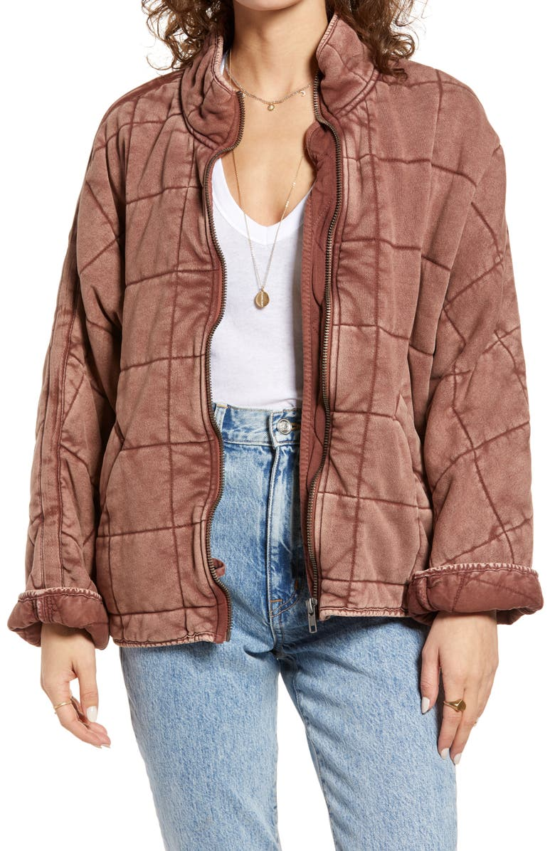 FREE PEOPLE Dolman Sleeve Quilted Jacket, Main, color, CHERRY COLA