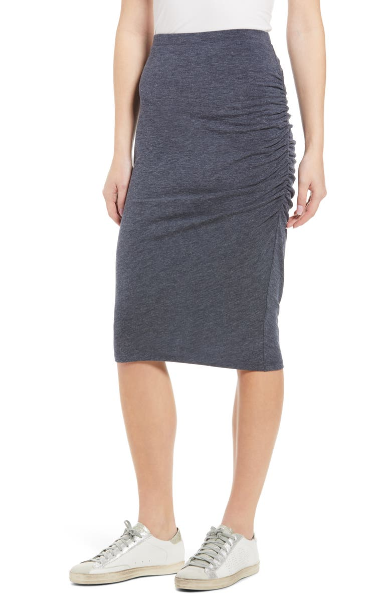 TREASURE & BOND Side Ruched Skirt, Main, color, NAVY NIGHT HEATHER