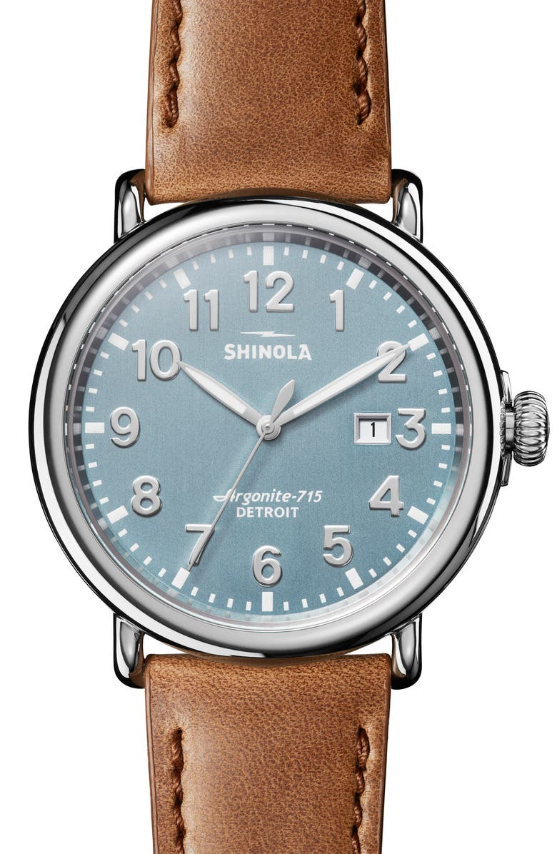 SHINOLA Runwell Leather Strap Watch, 47mm, Main, color, SILVER/ STONE BLUE/ SILVER