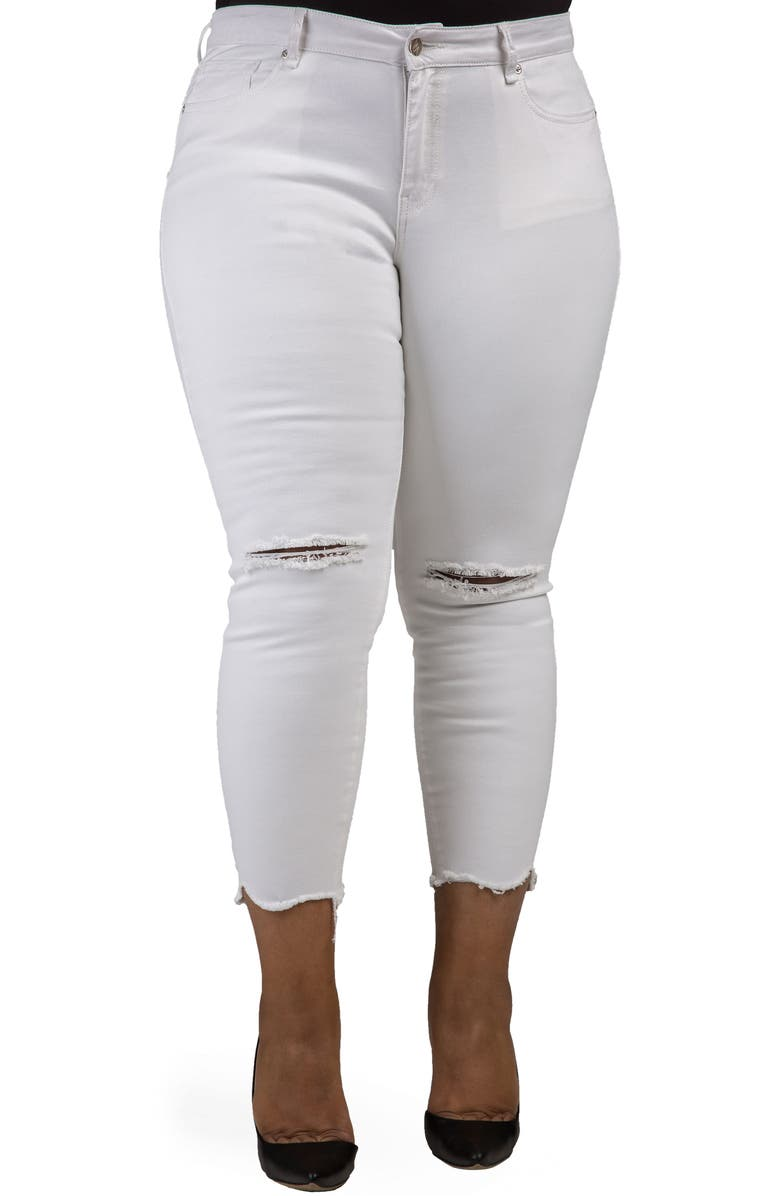 POETIC JUSTICE Ripped Jagged Hem Ankle Jeans, Main, color, SHARK BITE