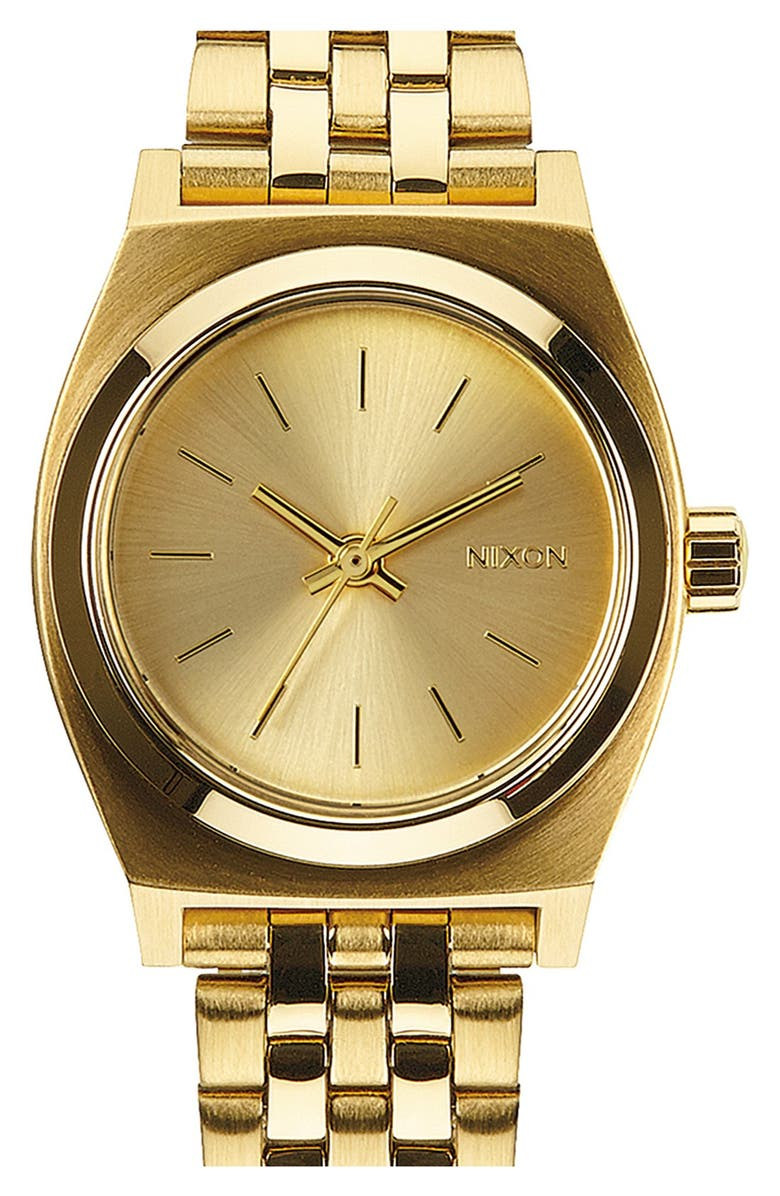 NIXON 'The Small Time Teller' Bracelet Watch, 26mm, Main, color, ALL GOLD