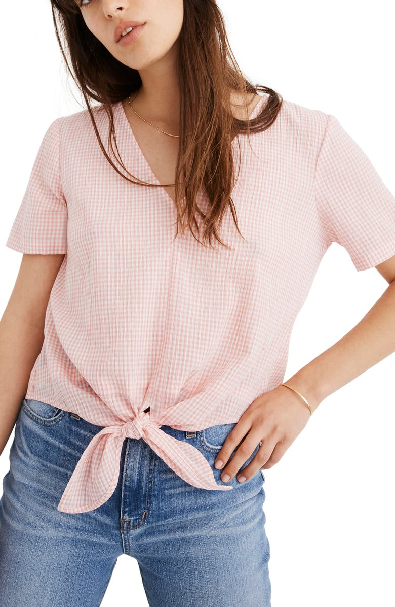 MADEWELL Novel Gingham Check Tie Front Top, Main, color, LIGHT BLOSSOM