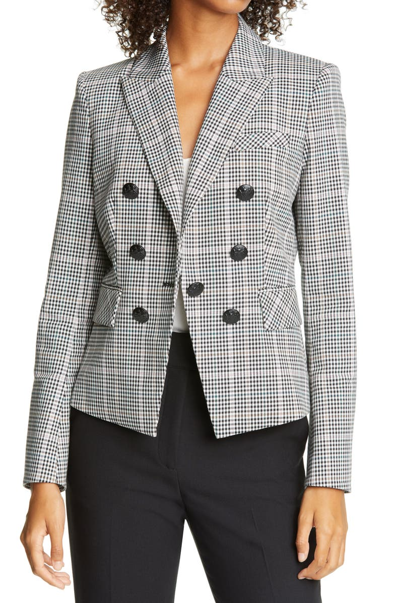 VERONICA BEARD Diego Check Cotton Blend Dickey Jacket, Main, color, MULTI