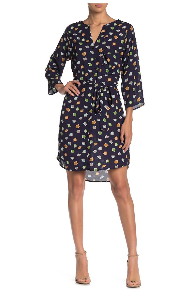 COLLECTIVE CONCEPTS Tie Waist 3/4 Sleeve Dress, Main, color, NAVY