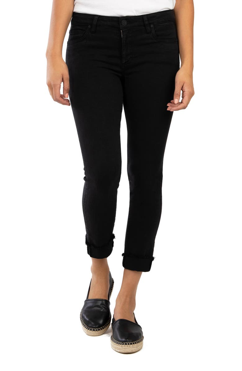 KUT FROM THE KLOTH Amy Fray Hem Crop Skinny Jeans, Main, color, BLACK