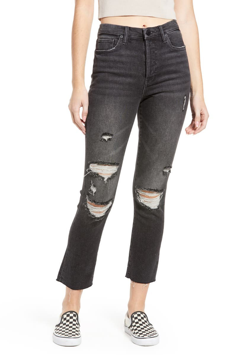 BLANKNYC The Madison Ripped Mid Rise Straight Leg Jeans, Main, color, SNEAK PREVIEW