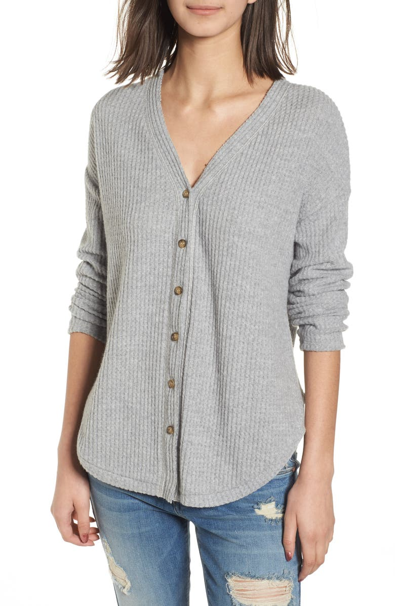 SOCIALITE Thermal Button Front Shirt, Main, color, Grey
