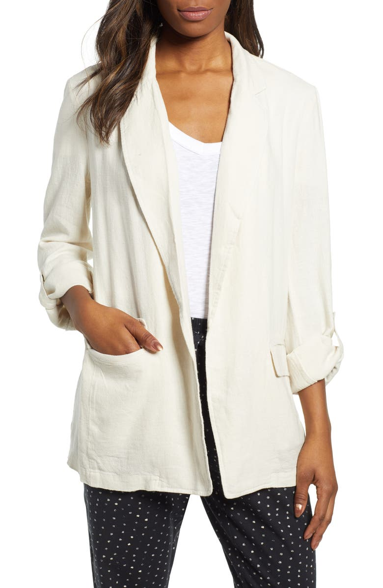 CASLON<SUP>®</SUP> Linen Blend Boyfriend Blazer, Main, color, FLAX