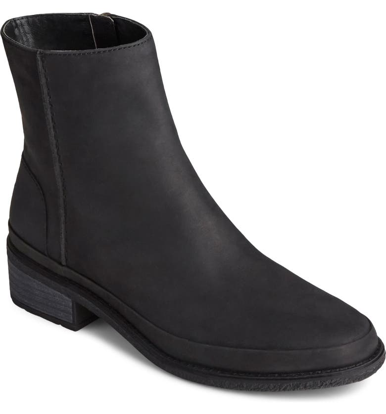 SPERRY Seaport Waterproof Storm Bootie, Main, color, BLACK LEATHER