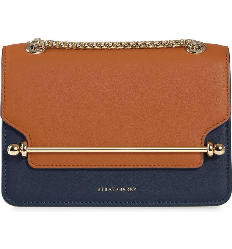 STRATHBERRY Mini East/West Colorblock Leather Crossbody Bag, Main, color, TAN/ NAVY/ VANILLA