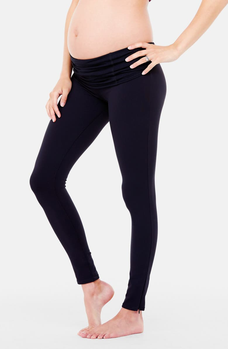 INGRID & ISABEL<SUP>®</SUP> Active Maternity Leggings with Crossover Panel<sup>®</sup>, Main, color, JET BLACK