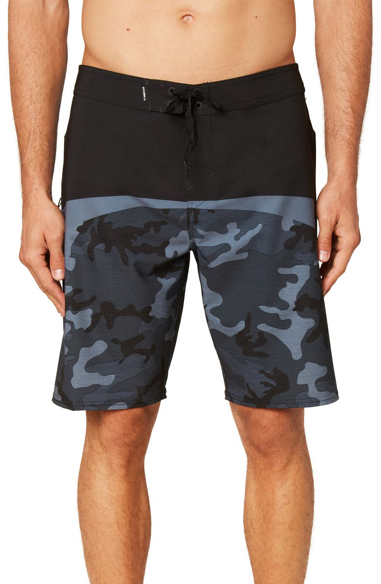 O'NEILL Hyperfreak Pattern Block Board Shorts, Main, color, BLACK CAMO