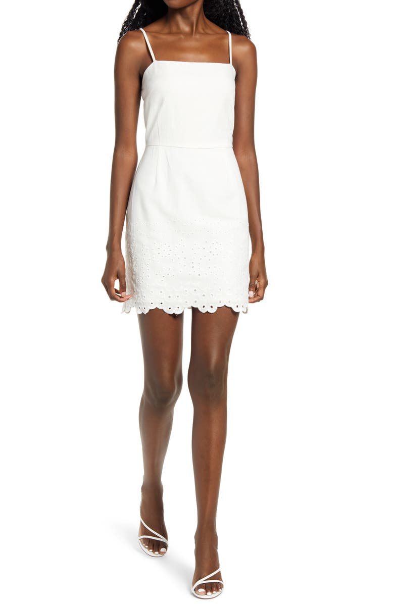 ROW A Embroidered Sleeveless Minidress, Main, color, WHITE