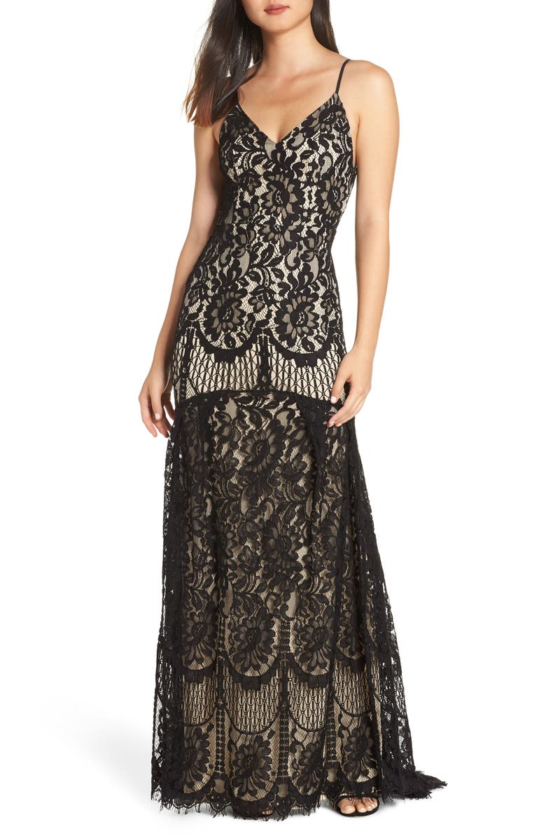 LULUS Flynn Lace Gown with Train, Main, color, 001