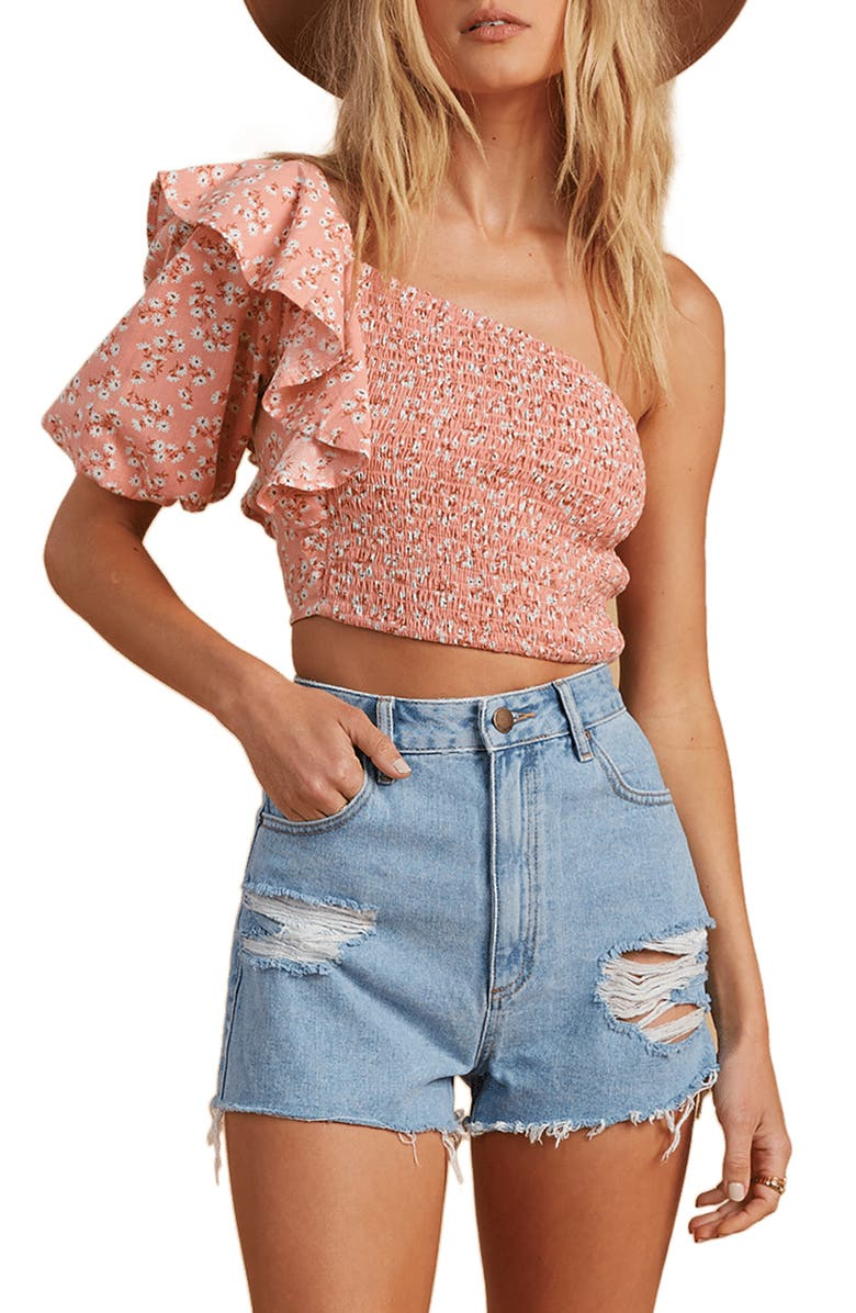 BILLABONG x The Salty Blonde Shine On One-Shoulder Crop Top, Main, color, PEACH OUT