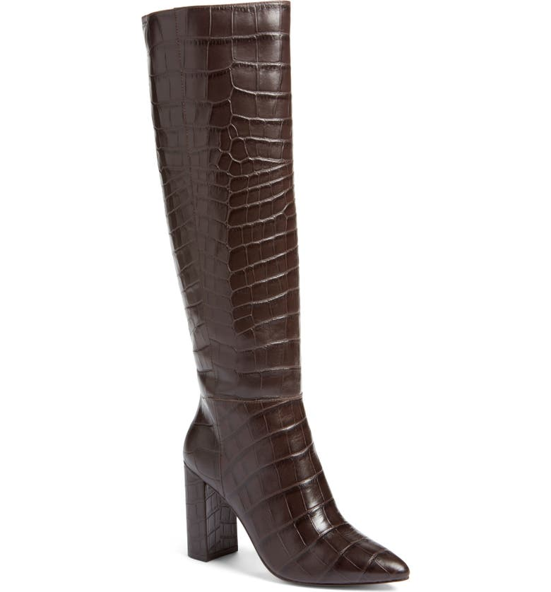 HALOGEN<SUP>®</SUP> x Atlantic-Pacific Adrina Boot, Main, color, BROWN CROCO PRINTED LEATHER