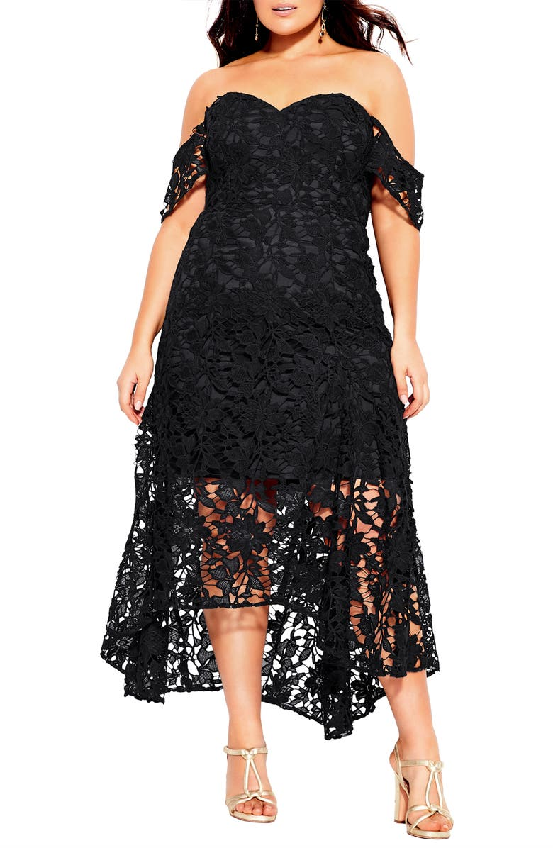 CITY CHIC Lace Off the Shoulder High/Low Cocktail Dress, Main, color, 001