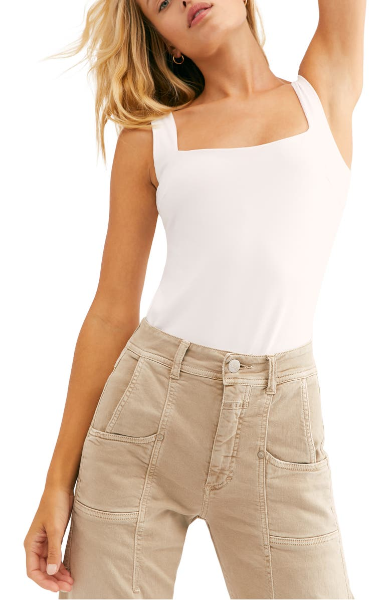 FREE PEOPLE Square Off Compression Tank, Main, color, WHITE